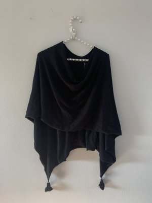 Comma Poncho en tricot noir