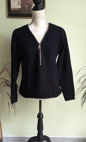 Schwarzer Sweater mit Reißverschluss