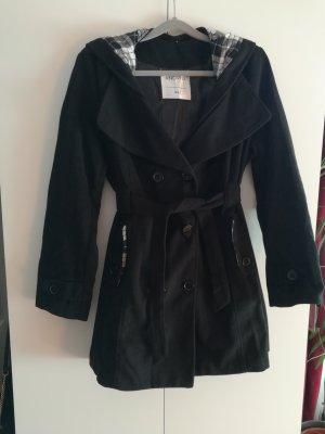 Manteau à capuche noir-blanc polyester