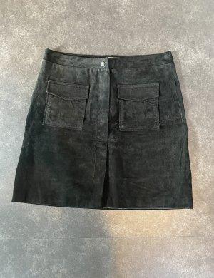 Nümph Falda de cuero negro