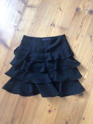 Zara Falda con volantes negro tejido mezclado
