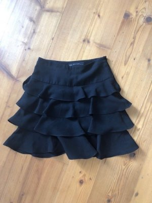 Zara Jupe à volants noir tissu mixte
