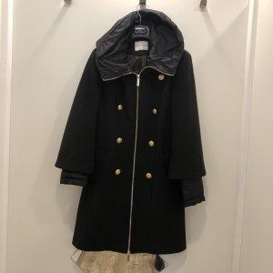 Rinascimento Manteau à capuche noir tissu mixte
