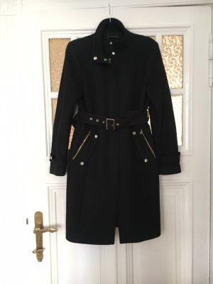 Zara Woman Abrigo de lana negro