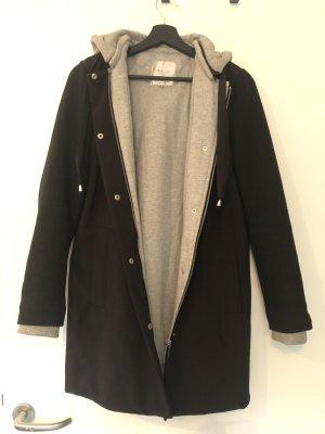 Zara Cappotto con cappuccio nero-grigio chiaro