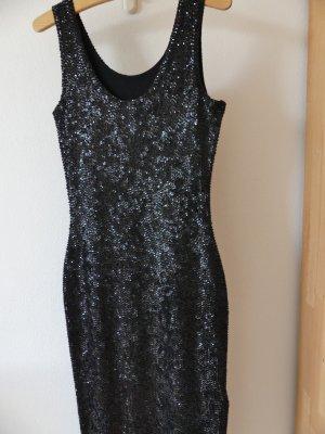 Schwarzes Abendkleid mit funkelnden Pailetten, Größe 38 neu