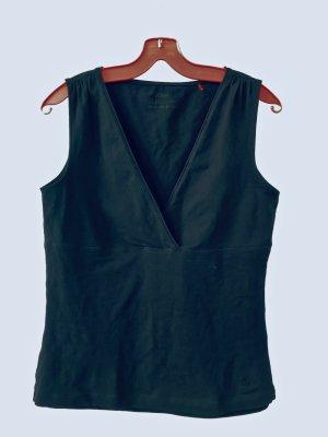 Schwarzes ärmelloses Shirt mit V-Ausschnitt