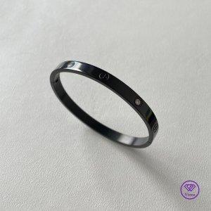 ♈️ Schwarzes Armband mit weißem CZ-Stein, 6 mm