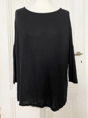 Schwarzes asymmetrisches Oversized Basictop Zara W&B Collection