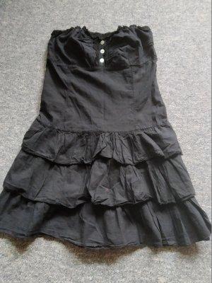 schwarzes Bandeau-Kleid - mit Knöpfen und Faltenwurf - Größe S/M