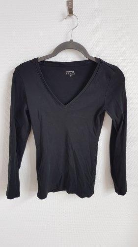 Schwarzes Basic Langarm Shirt mit V-Ausschnitt