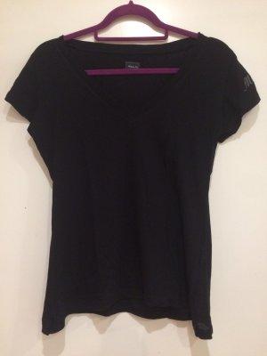 Schwarzes basic T-Shirt dünn, Mitch&Co., V-Ausschnitt, Gr. M
