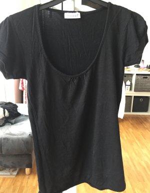 Schwarzes Basic T-Shirt mit Gummizug unten