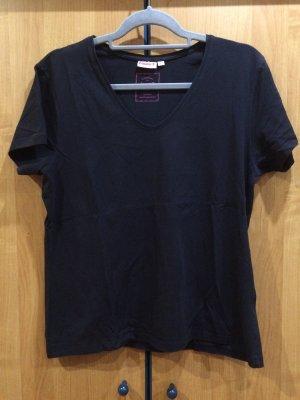 Schwarzes basic T-Shirt mit V-Ausschnitt, Laura T., Gr. XL