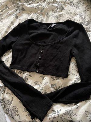 schwarzes bauchfrei langarm T-Shirt