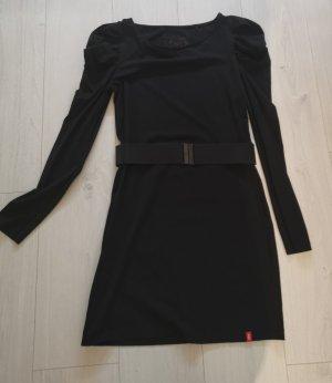 schwarzes Baumwoll-Stretchkleid mit Puffärmel