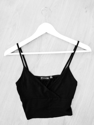 schwarzes baumwoll triangle crop cropped top cami
