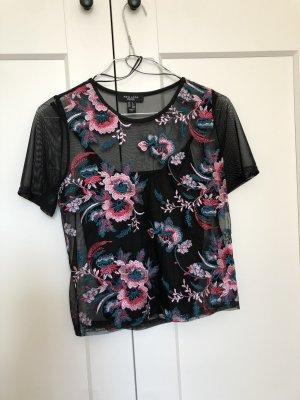 Schwarzes besticktes Mesh Shirt New Look