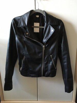 schwarzes Biker-Lederjacke