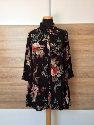 Schwarzes Blumen Blusen Kleid von Zara, Gr. XS