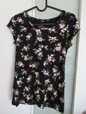 Schwarzes Blumenshirt