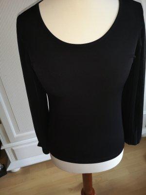 Schwarzes Blusen-Shirt mit Plissee Armen Gr. 40