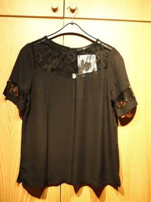 schwarzes Blusenshirt mit Spitzeneinsätzen von Sienna, ungetragen, schwarz
