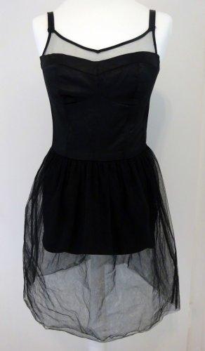 Schwarzes Body Kleid mit Tüll Gr. 36/38