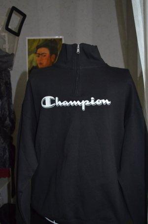 schwarzes Champion Sweatshirt mit halbem Reisverschluss