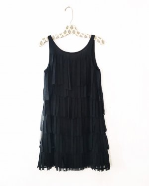 Vintage Fringed Dress black