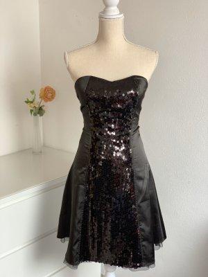Schwarzes CocktailKleid aus Satin mit Pailletten