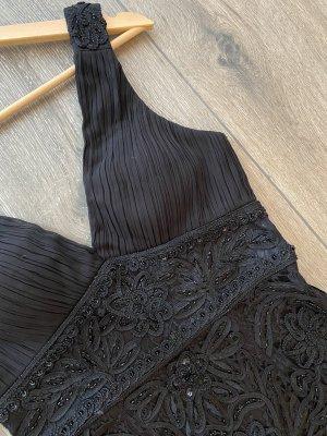 Schwarzes Cocktailkleid mit Perlen Stickerei