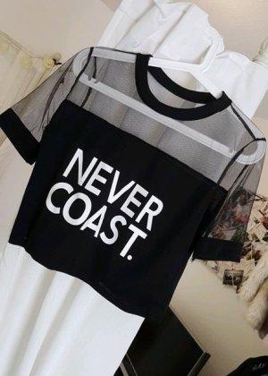 no name Cropped shirt zwart-wit Polyamide