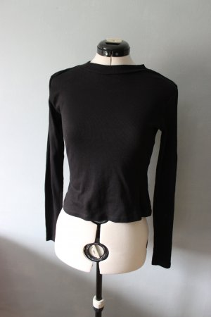 Schwarzes cropped Langarm Shirt