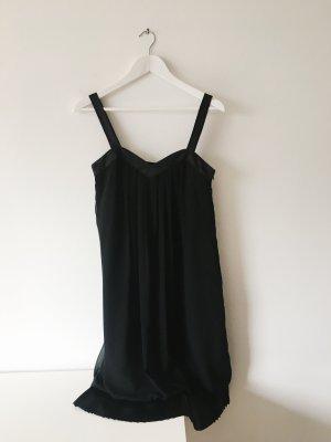 """schwarzes Elegantes Kleid mit """"Fransen""""-Saum"""