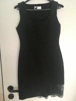 Schwarzes Etui Kleid / Größe 36 / Neu & ungetragen mit Spitzenbordüre