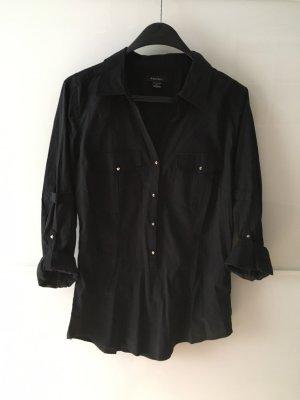 Schwarzes figurbetontes Hemd