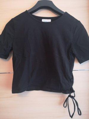 schwarzes gecropptes T-Shirt