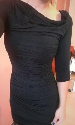 Schwarzes gerafftes Kleid von H&M Gr. 34 XS Neu mit Etikett