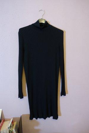 schwarzes geripptes kleid mit stehkragen, meta dress, mtwtfss weekday, xs