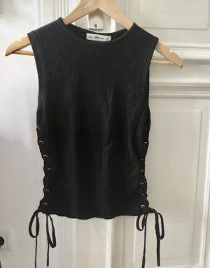 Zara Top lavorato a maglia nero