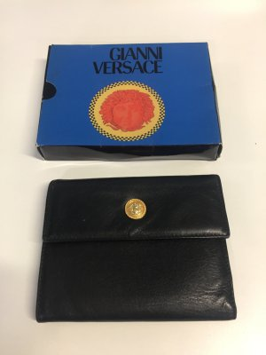 Schwarzes Gianni Versace Leder-Portemonnaie