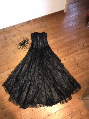 Schwarzes Gothic Vokuhilacorsagenkleid