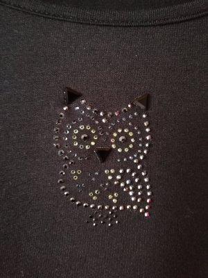 schwarzes Halbarmshirt mit Swarovski-Eule von Peter Hahn