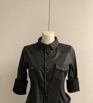Zara Woman Leren shirt zwart Imitatie leer