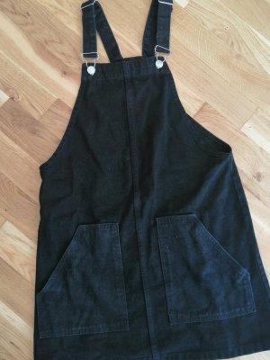 schwarzes Jeans Latzkleid