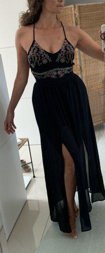 Schwarzes Kleid, 36 bestickt, mit toller Rückenpartie
