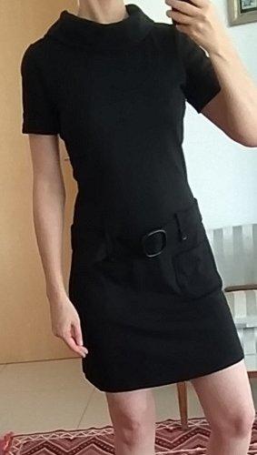 Hallhuber Vestido de manga corta negro