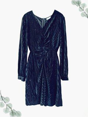 Schwarzes Kleid Cocktail elegant Glitzer Plissee Raffungen 20iger   vintage   L