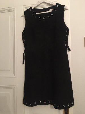Mango Leren jurk zwart
